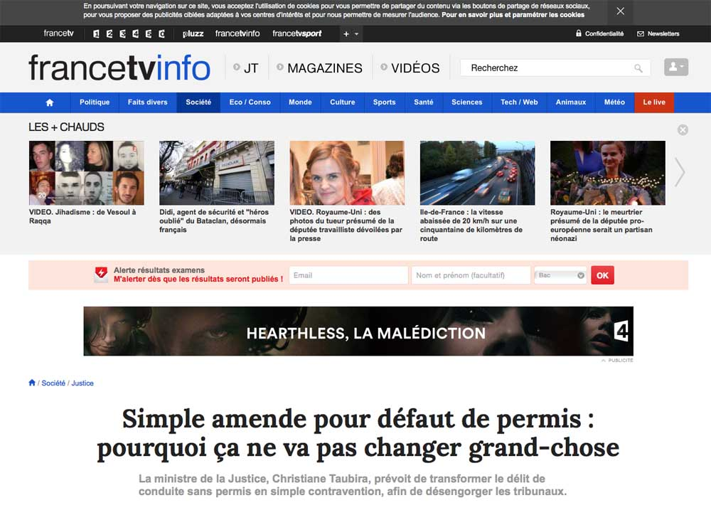 FRANCE TV INFO, SIMPLE AMENDE, DÉLIT, AVOCAT DÉLIT, AVOCAT CONTRAVENTION