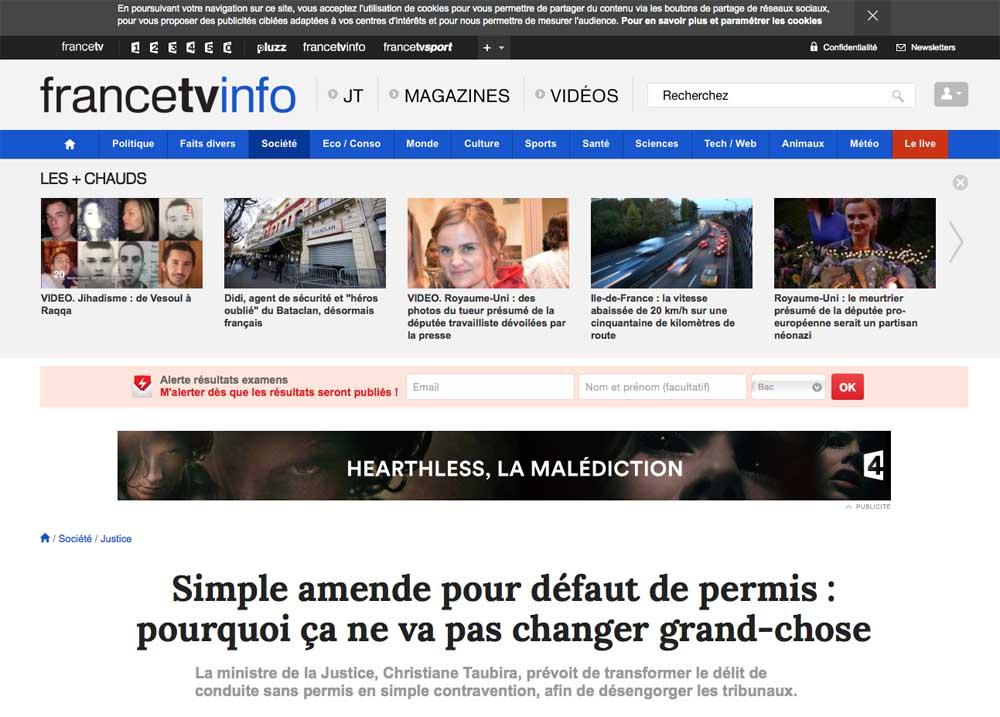 FRANCE TV INFO, SIMPLE AMENDE, DÉLIT, AVOCAT DÉLIT, AVOCAT CONTRAVENTION