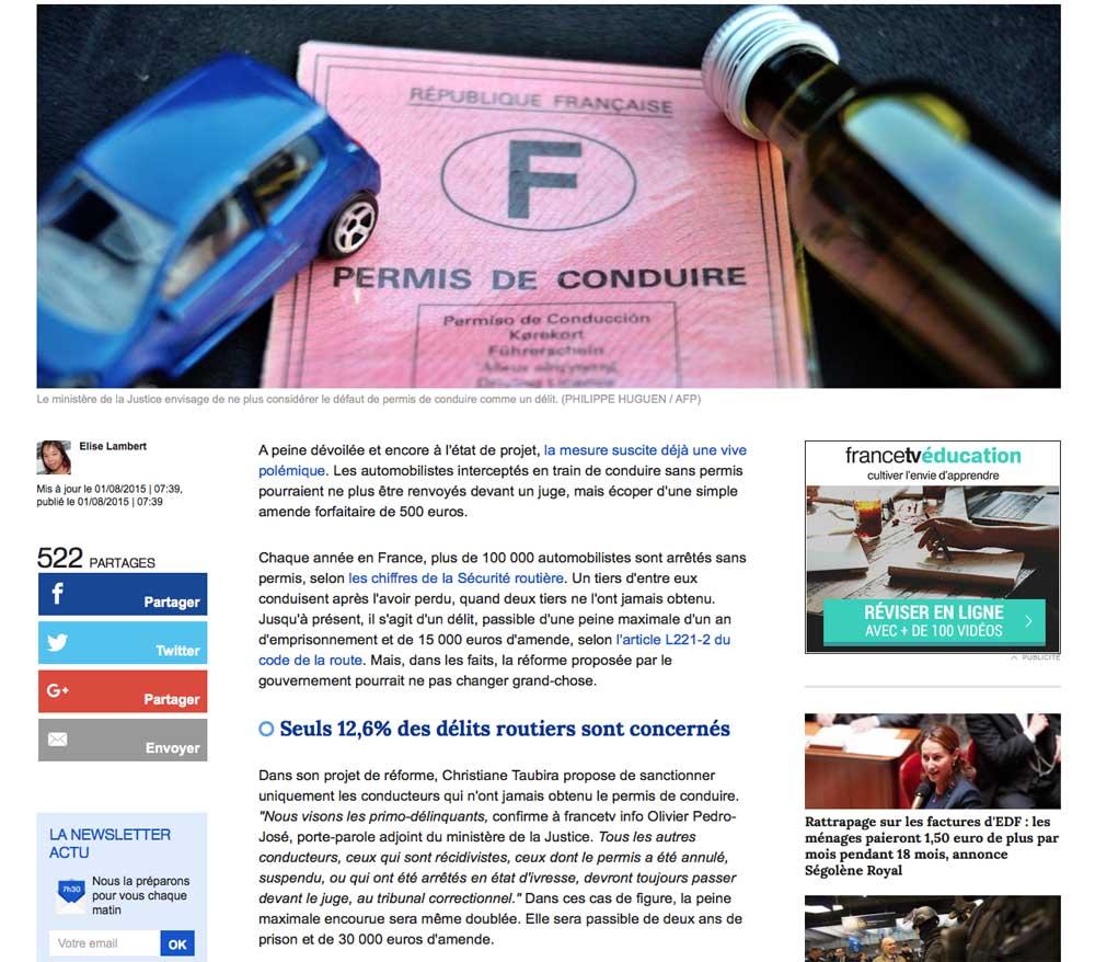 avocat permis, avocat automobile, avocat spécialiste code de la route, avocat france tv info